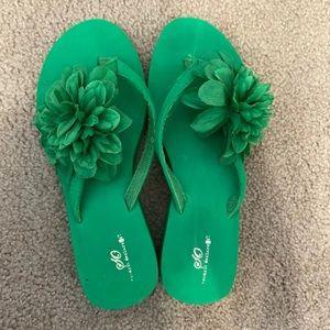 Green sandals wedges flower summer SO